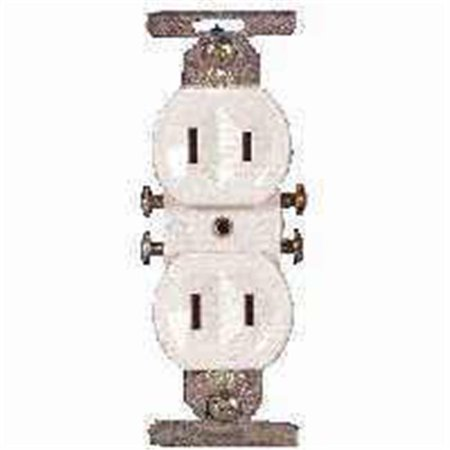 Cooper Wiring 736W-BOX 15A 2 Wire Common White Duplex Receptacle - image 1 of 1