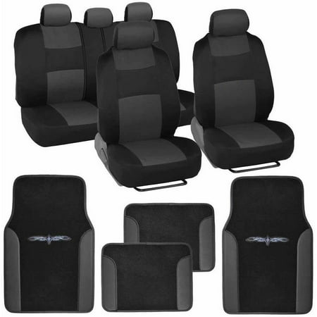 BDK Original Car Seat Covers and Floor Mats, Split Bench, Easy Installation, 6 Colors - The Walking Dead Car Accessories