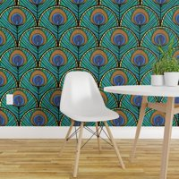 Peel-and-Stick Removable Wallpaper Peacock Feathers Teal Gold Feather Blue And