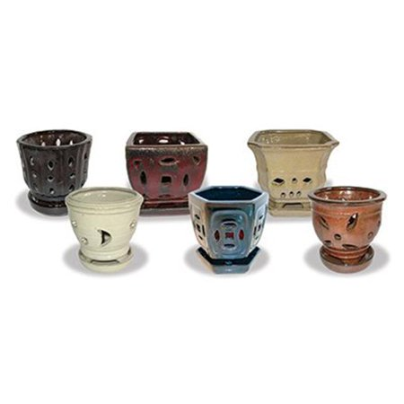 Image of Ceramo 256607 5.5 in. Assorted Colors & Shape Orchid Pot, Pack of 12