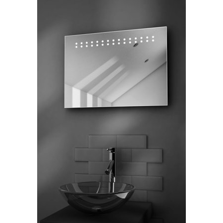 Crystal Ultra Slim Led Bathroom Illuminated Mirror With Demister   Sensor K12