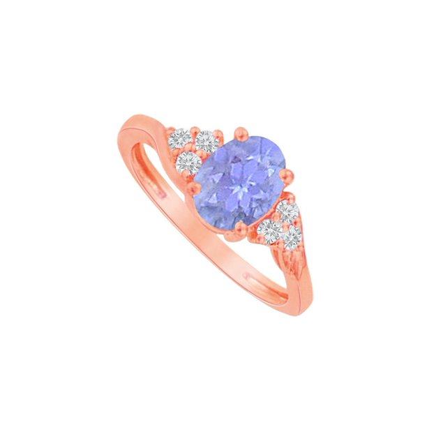 Oval Tanzanite and CZ Ring in 14K Rose Gold Vermeil
