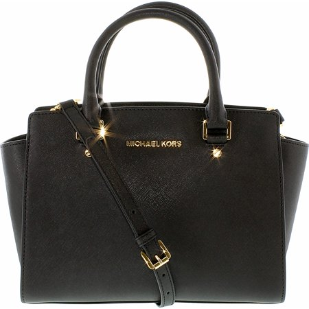 Michael Kors Women's Medium Selma Top-Zip Leather Top-Handle Bag Satchel - Black