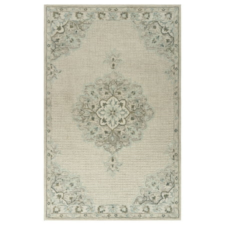 - Modern Traditions 9 ft. x 12 ft. Wool - Cotton Classic Traditional Transitional Floral Oriental Medallion Border Hand Tufted Ivory Indoor Area Rug