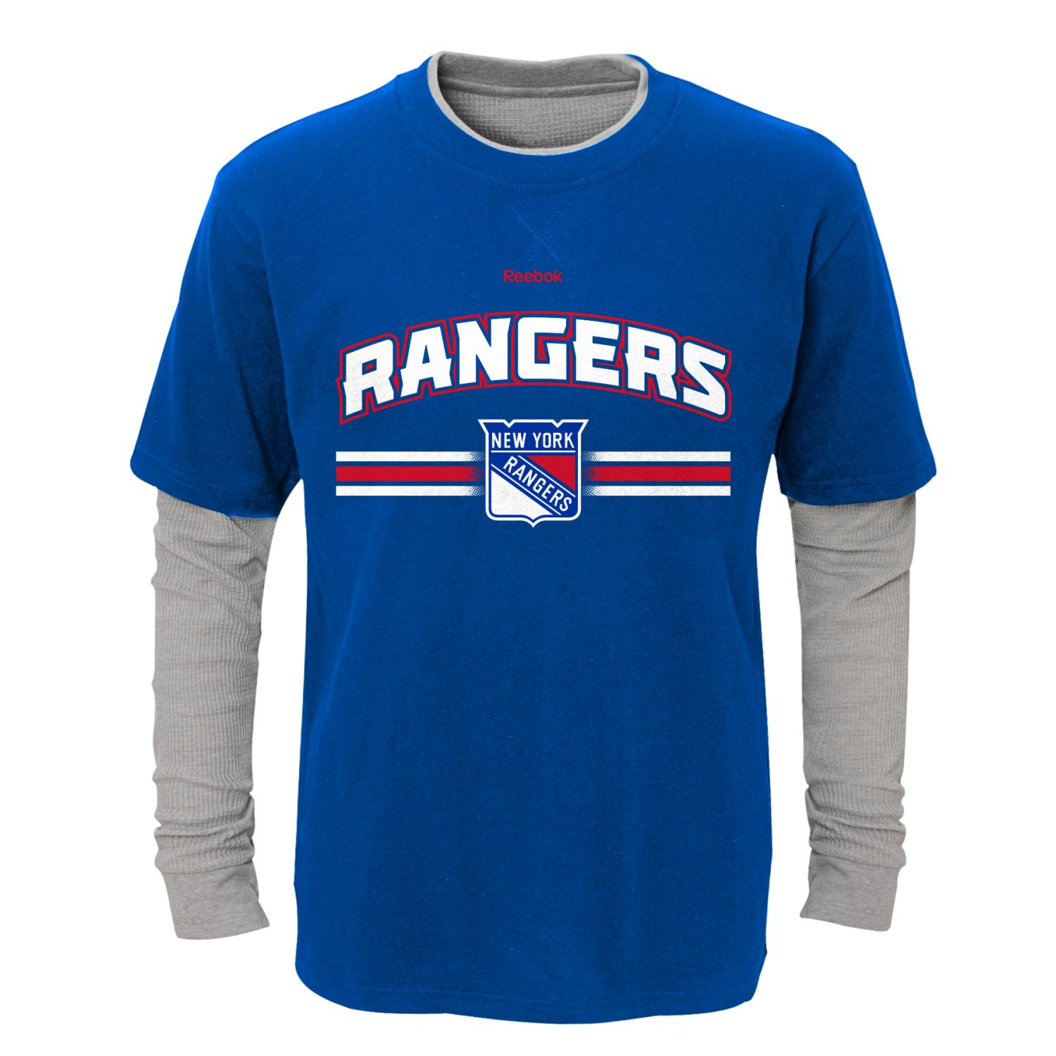 "New York Rangers Youth NHL ""Bleachers"" L S Faux Layer Thermal Shirt by Outerstuff"