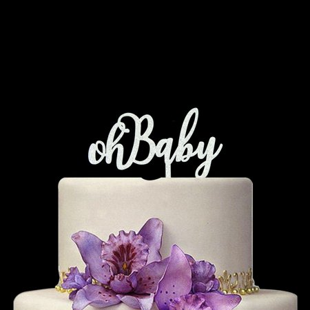 silver oh baby shower cake topper oh bahy gold cake topper baby