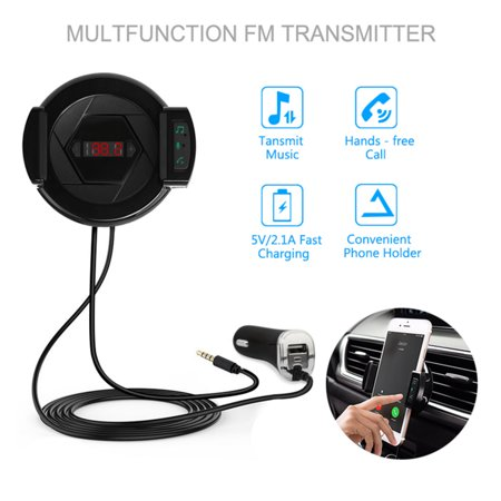 Hand-Free Car Phone Clip FM Transmitter Bluetooth MPS Player Car Charger Mobile Phone Holder for 2.1-3.2 Inch Mobile Phone ()