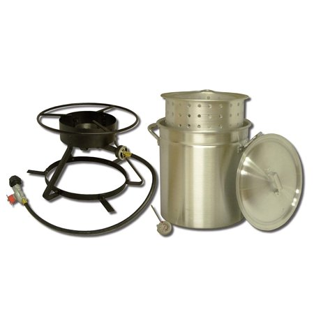 - King Kooker #5012- Boiling and Steaming Cooker Package with 50 Qt. Pot & Steam Basket