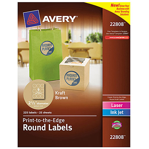 "Avery 22808  Easy Peel Print-to-the-Edge Kraft Brown Round Labels, 2-1/2"" diameter, 225 Labels/Pack"