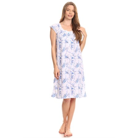 Blue Nightgown (10077 Women Pajamas Night Gown Sleepwear Night Shirt Blue M )
