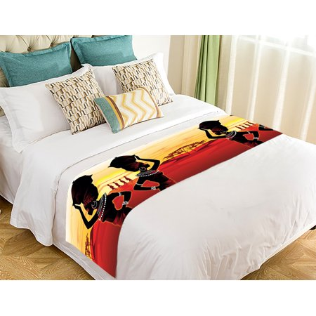 - GCKG African Woman Bed Runner,African Woman Bed Runner Bedding Scarf Bed Decoration 20x95 inch