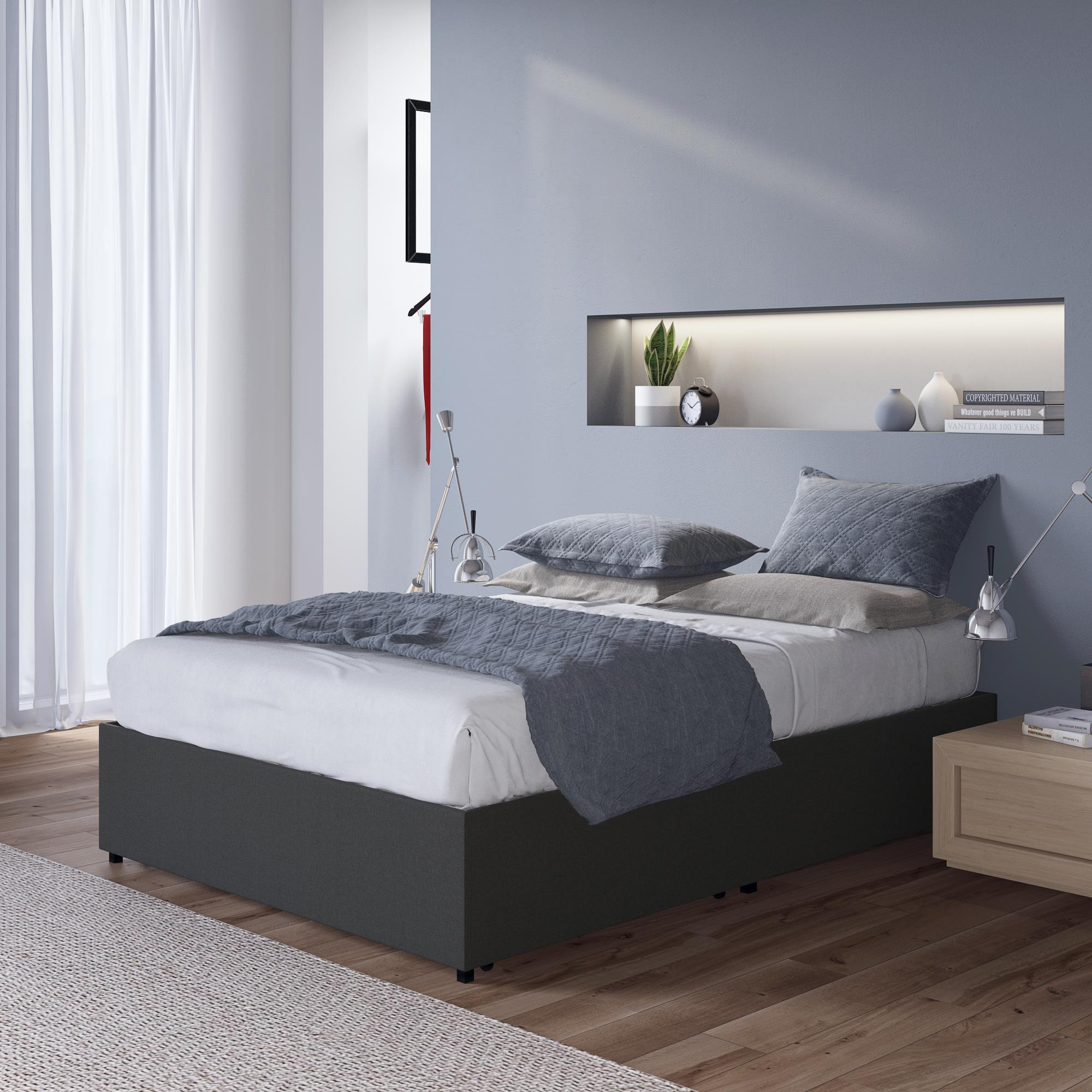 Dhp Maven Upholstered Platform Bed Full Size Frame Gray