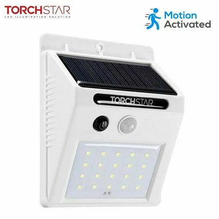 Solar Outdoor Motion Lights - TORCHSTAR 20 LED 320LM Solar Powered Motion Sensor Lights, Wireless Outdoor Wall Lighting, White