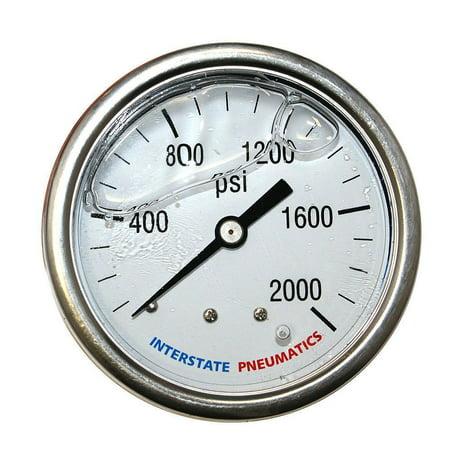 Oil Pressure Gauge Black Dial (Interstate Pneumatics G7122-2000 Oil Filled Pressure Gauge 2000 PSI 2-1/2