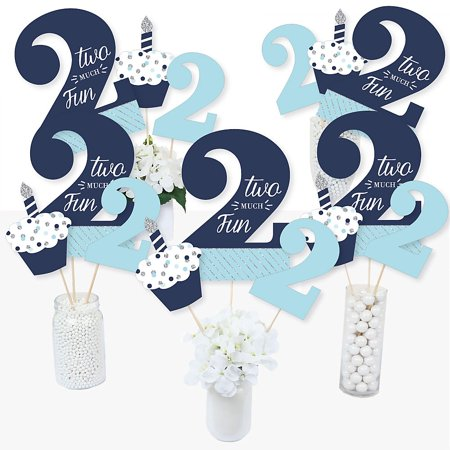 2nd Birthday Boy - Two Much Fun - Second Birthday Party Centerpiece Sticks - Table Toppers - Set of 15 ()