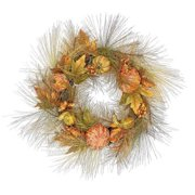 """Northlight 24"""" Unlit Pine Wreath with Gourds, Pumpkins and Fall Leaves Autumn Wreath"""