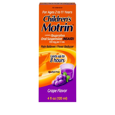 Children's Motrin Oral Suspension, Pain Relief, Ibuprofen, Grape Flavored, 4 -