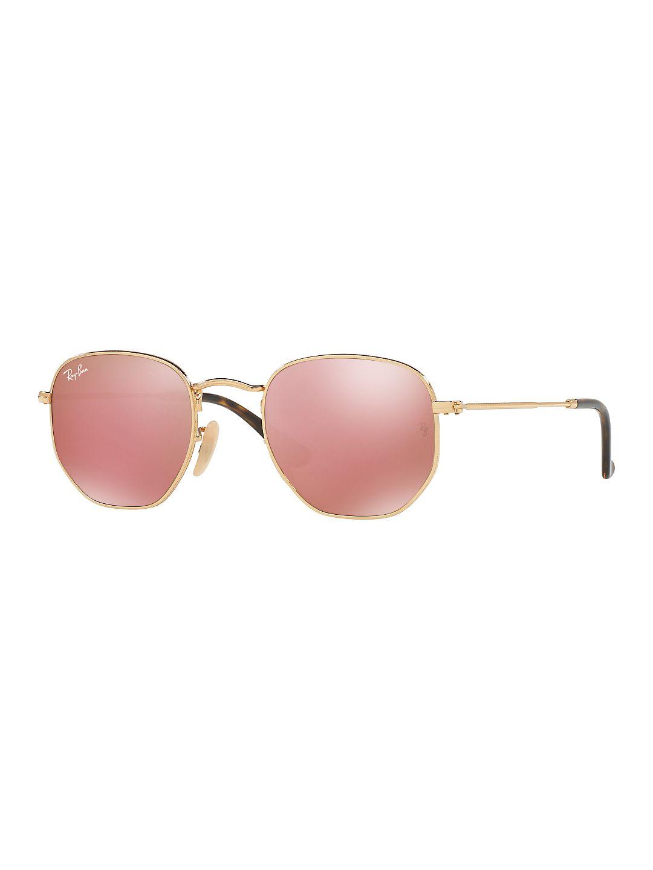 Ray-Ban Men's RB3548N Hexagon Flat Lens Metal Sunglasses, 48mm