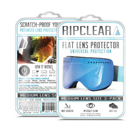 Ripclear Dragon D1 Snow Goggle Lens Protector Kit - Scratch-Resistant, Crystal Clear - 3-Pack (Dragon D1 Lenses)