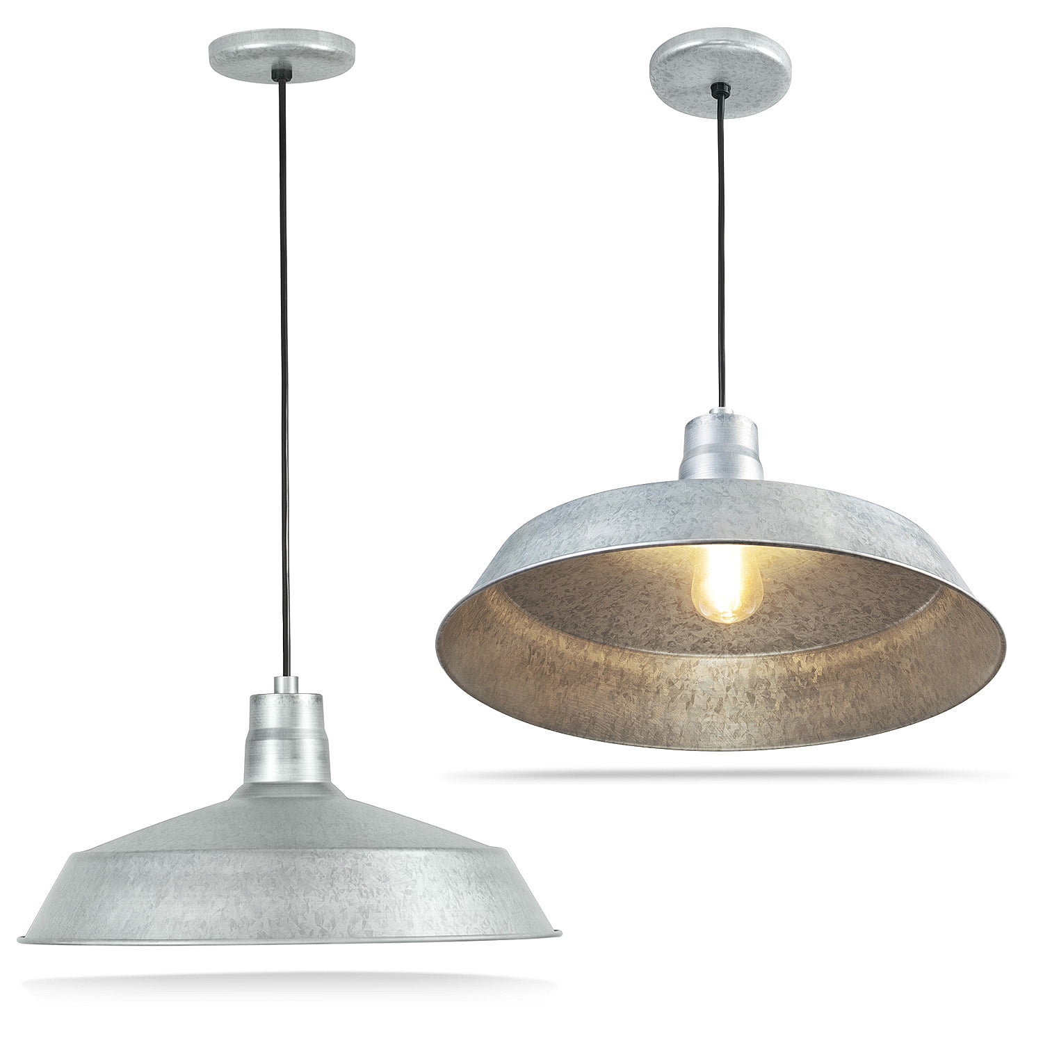 17 Inch Industrial Galvanized Pendant Barn Light Fixture With 10ft Adjustable Cord Ceiling Mounted Vintage Hanging Light For Indoor Use 120v Hardwire E26 Base Led Compatible Ul Listed 2pack Walmart Com Walmart Com