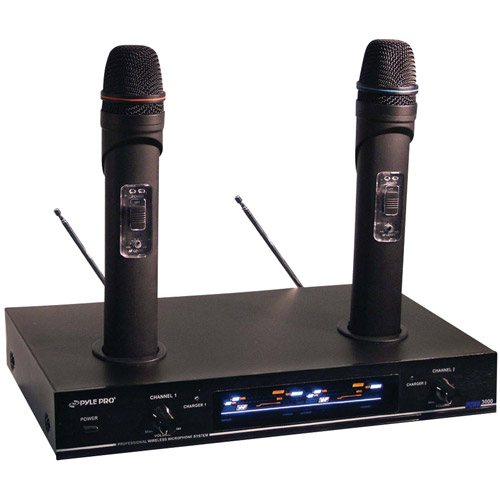 Pyle Pro PDWM3000 Dual VHF Rechargeable Wireless Microphone System