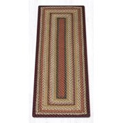 Earth Rugs RC-319 Burgundy / Mustard / Ivory Rectangle Braided Rug 5 x 8 Feet