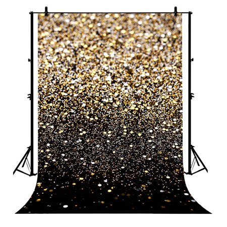 GCKG 7x5ft Glitter Black Gold Dots Polyester Photography Backdrop Photography Props Studio Photo Booth Props - image 4 de 4