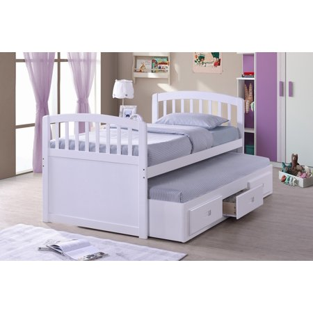 Cappuccino Cal King Bed (Wood Captain Bed With Trundle & Storage Drawers white or Cappuccino )