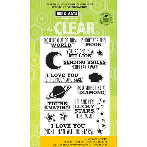 "Hero Arts Clear Stamps, 4"" x 6"" Sheet, Shoot For The Moon"
