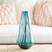 "CosmoLiving Extra Large Teal Glass Vase with Drip Effect | 7"" x 14"""