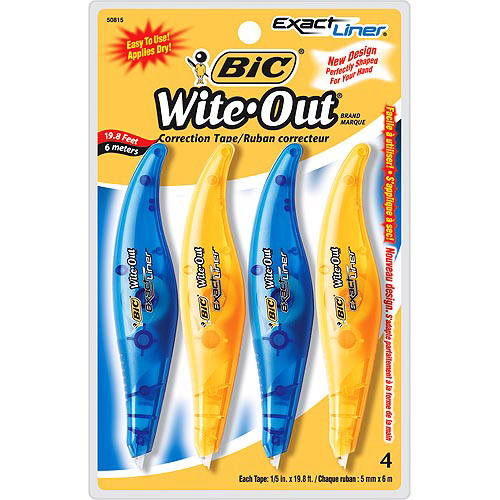 BIC Wite-Out Exact Liner Correction Tape, White, 4-Pack
