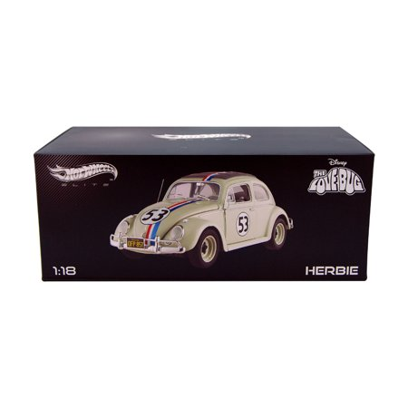Volkswagen Herbie #53, White - Mattel Hot Wheels BCJ94 - 1/18 Scale Diecast Model Toy Car