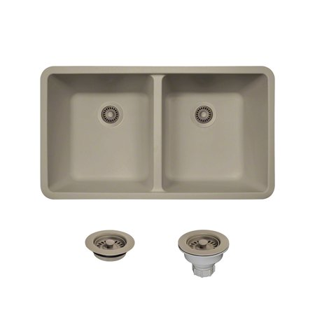 Mr Direct 802 Slate Undermount Composite Granite 32 1 2 In Equal Double Bowl Kitchen Sink Ensemble With One Colored Strainer