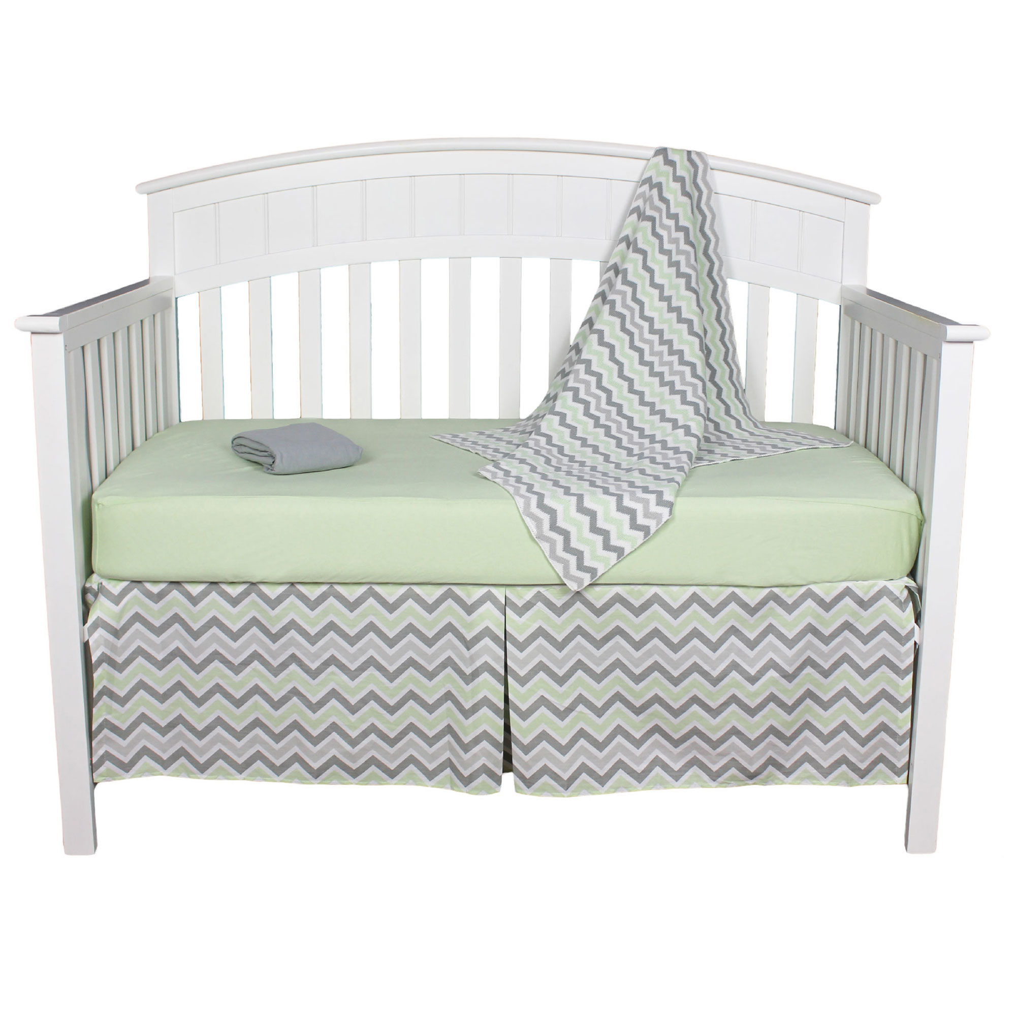 American Baby Company Crib Bedding Set - Celery and Gray Zig Zag - Green Chevron 4 Piece Baby Bedding Set