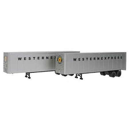 Walthers Express (Walthers 949-2306 HO Western Express 40' Trailer 2-Pack - Assembled (silver, bla )