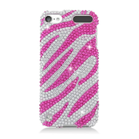 iPod Touch 6th Generation Case, iPod Touch 5th Generation Case, by Insten Zebra Rhinestone Diamond Bling Hard Snap-in Case Cover For Apple iPod Touch 5th