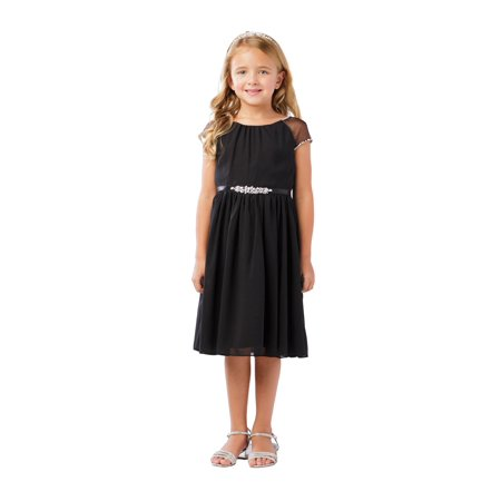 Little Girls Black Ilussion Short Sleeved Chiffon Flower Girl Dress - Black Girl Dresses