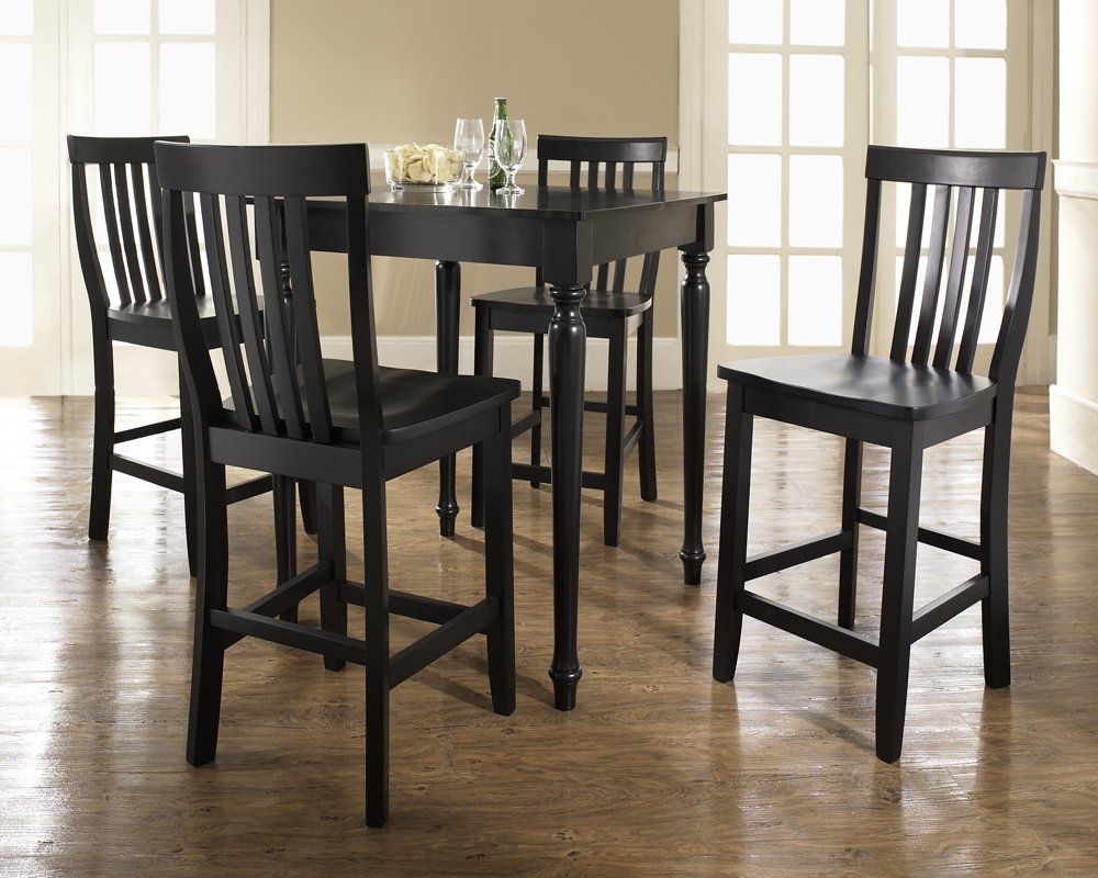 Five Piece Pub Dining Set With Turned Leg And School House Stools In Black  Finish