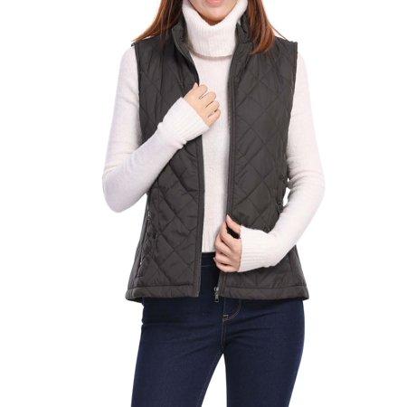 Brown Cowgirl Vest (Women's Mock Pocket Quilted Padded Vest Warm Jacket Brown M (US)