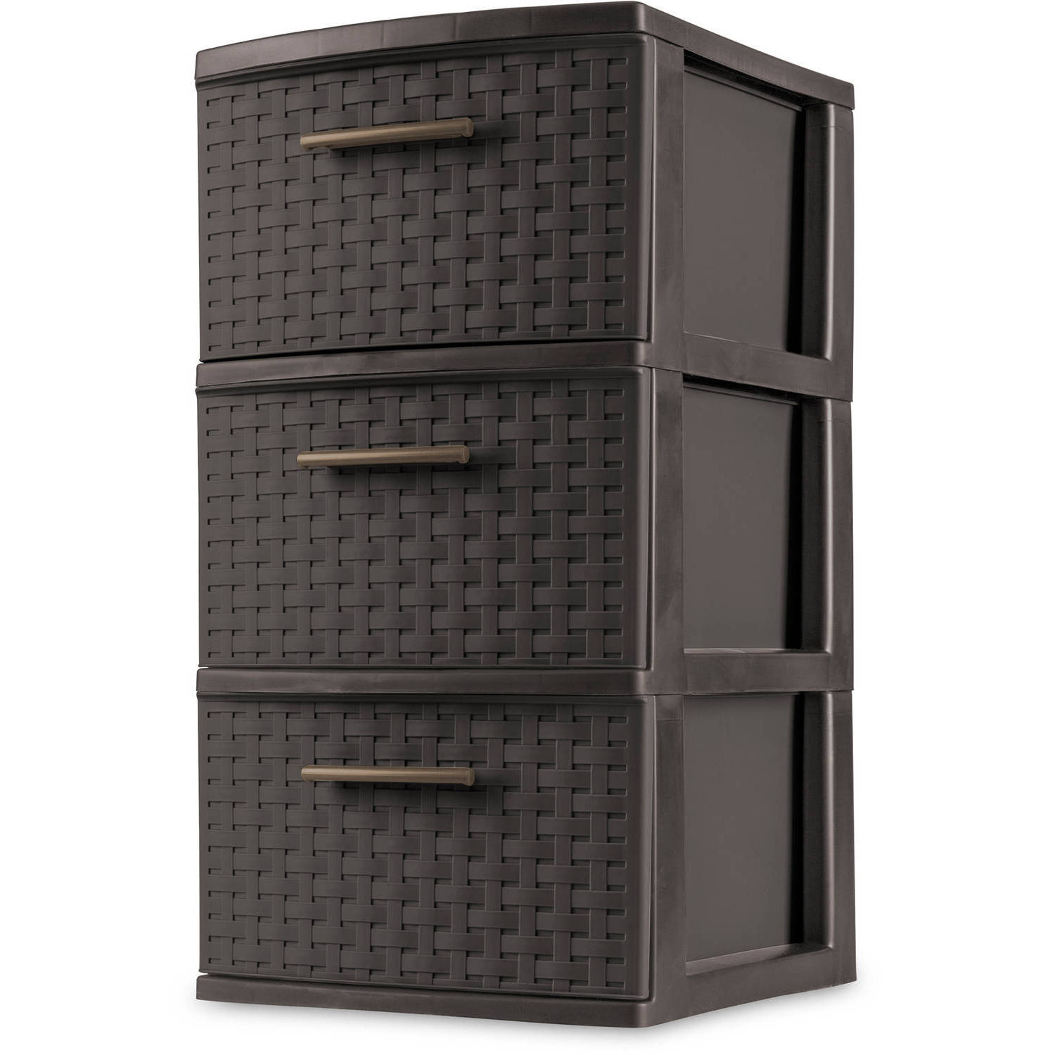 Sterilite 3-Drawer Weave Cart, Espresso (Available in Case of 2 or Single Unit)