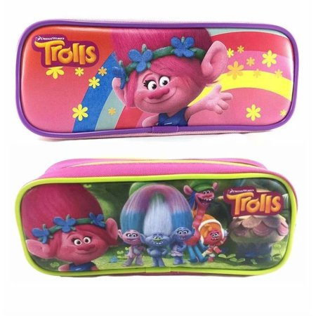 Dreamworks Trolls Poppy Pencil Case Zippered Pouch Bag Authentic Licensed NWT! Hot Pink & Baby Pink