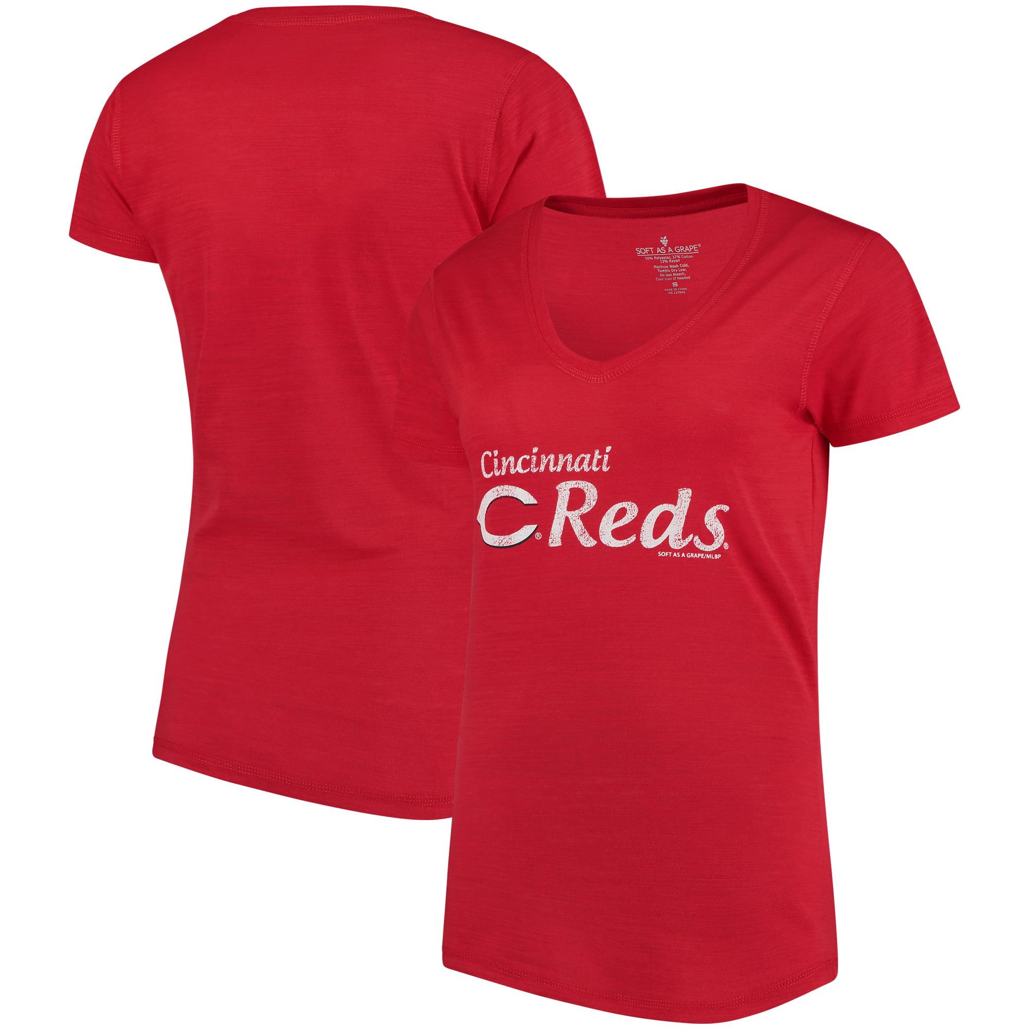 Cincinnati Reds Soft As A Grape Women's Double Steal Tri-Blend V-Neck T-Shirt - Red