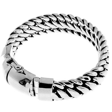 15mm Wide Very Heavy Snake Chain Bali Handmade 925 Sterling Silver Bracelet, 8-10