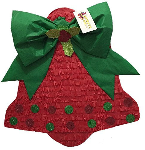 Christmas Bell Pinata with Green Bow
