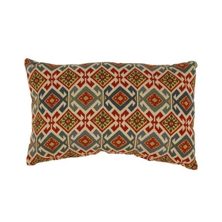 White Cream Throw Pillows : Mardin Blue Red and Cream White Geometric Ikat Cotton Throw Pillow 11.5