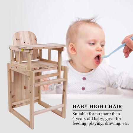 Knifun Baby Feeding Chair   Table Set Solid Wooden Detachable Highchair  with Adjustable Tray ebb3682e5