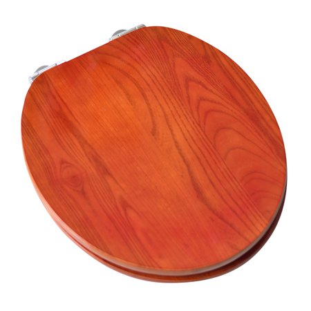 BathDecor Contemporary Design Full Cover Solid Oak Wood Round Front Toilet Seat with Slow Close Chrome Hinge with American Red Cherry Finish