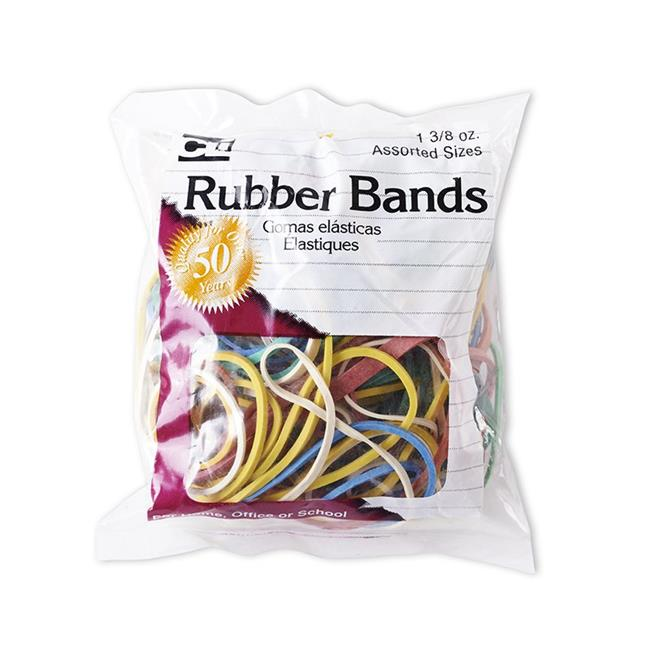 Charles Leonard CHL56385BN Rubber Bands, Assorted Color - Pack of 12