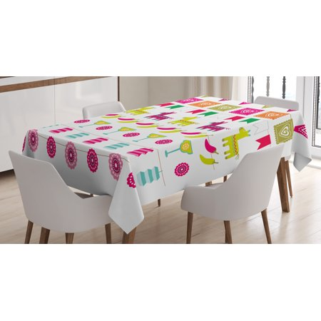 Fiesta Tablecloth, Latin American Motifs Flags Chili Peppers Cocktails Mexican Flag Color Party Pattern, Rectangular Table Cover for Dining Room Kitchen, 52 X 70 Inches, Multicolor, by Ambesonne - Fiesta Tablecloths