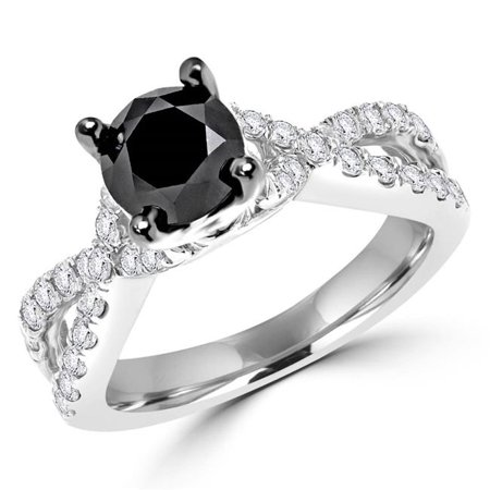 Majesty Diamonds MDR170017-5.5 1.6 CTW Round Black Diamond Twisted Cocktail Ring in 14K White Gold - 5.5 - image 1 of 1